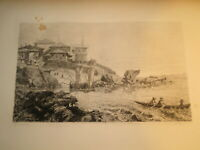 Henri de GOURCY (1829-1906) EAU FORTE PORT SICILE ITALIE MARINE SICILIA 1870