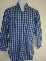 Peter Millar Mens Button Down Shirt Blue Pink Plaid Long Sleeves 100% Cotton M