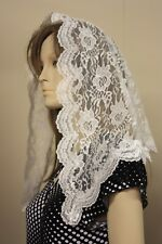 White veil lace mantilla Catholic church chapel scarf headcovering latin Mass WR