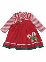 RARE EDITIONS Baby Girls Size 24 M Candy Cane Christmas Holiday Dress Set Outfit