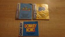 lot de 3 notices GAMEBOY ADVANCE super mario world donkey kong