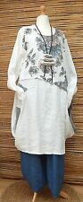 LAGENLOOK*100% LINEN BEAUTIFUL LAYERING FLORAL PRINT LONG DRESS*WHITE*Size 48-50