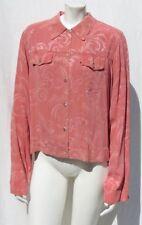 CITRON Santa Monica USA Salmon Pink Thin Rayon Jacquard Jacket Top size L EUC