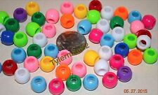 60 CHUNKY NEON COLORED 12MM PONY BEADS - BIRD PARROT TOY PARTS - CRAFTS