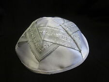 Star of David design KIPPAH - - -white satin Yarmulke Kippa Kipa Yarmulka Israel