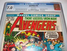 CGC 7.0 White Page AVENGERS #98 Iron Man & Hawkeye from Apr. 1972