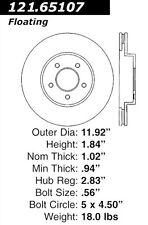 121.65107 - Centric Disc Brake Rotor,  Free Shipping!