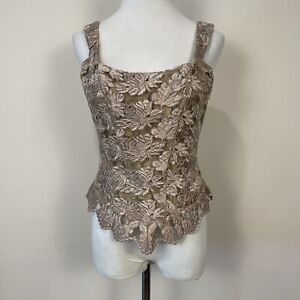Gigi Clark Modern Couture Bustier Embroidered Lace Hook Eye Back Sz 3