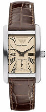 Emporio Armani Quartz Beige Dial with Brown Embossed Leather Band Women's Watch