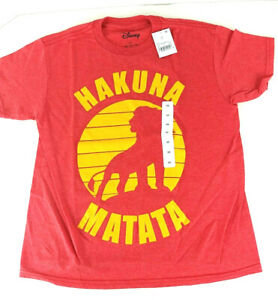 NWT Disney Hakuna Matata Lion King T-Shirt Youth Extra Small XS or Large L Red