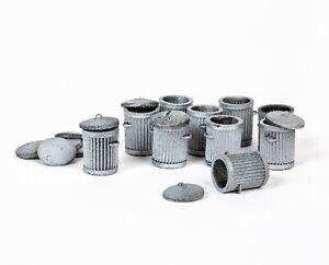 OO Gauge 1:76 Scale Rubbish Bins with Lid (x10) - Resin