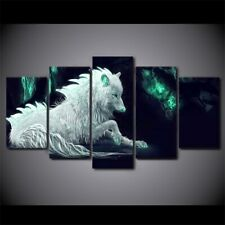 Abstract Mystic White Wolf 5 piece HD Poster Art Wall Home Decor Canvas Print