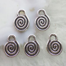 50Pcs Exquisite Carved Tibet Silver Whirlpool Pendant Bead 15x11x1mm QF1734