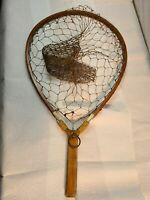 Early vintage handmade trout landing net to hand