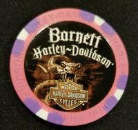 "BARNETT HD~El Paso, TX ~ Harley Davidson ""Wide Print"" (Pink/Purple) Poker Chip"