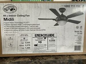 Hampton Bay Midili 44 in. LED Indoor Gilded Espresso Ceiling Fan with Light Kit