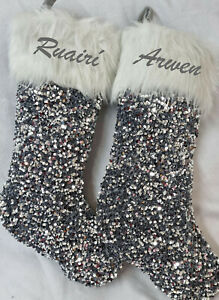 Personalised Christmas Gift Stocking Embroidered Name Santa Sack silver sequins