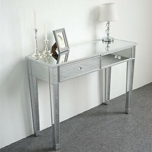 Neu Verspiegelter Konsolentisch mit 2 Schubladen, verspiegelter Schreibtisch