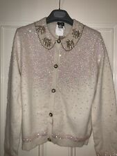 D&G White Wool Sequined Cardigan Sweater Size L