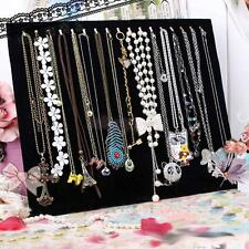 Blk Velvet Necklace Chain Jewelry Display Holder Stand Easel Organizer Rack