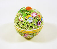 "HEREND, OPEN WORK RETICULATED FLORAL OVAL BOX 4.3"", HANDPAINTED PORCELAIN !"