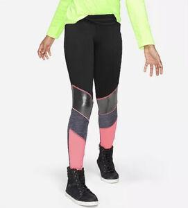 Justice Active Black Color Block High Waist Stretchy Logo Girls' Leggings Size 8