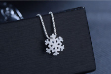925 Sterling Silver SP Snow-flake Pendant Chain Necklace