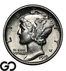 1919 Mercury Dime, Very Nice White Choice BU++ Better Date
