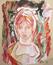 Vintage European pastel painting woman portrait signed