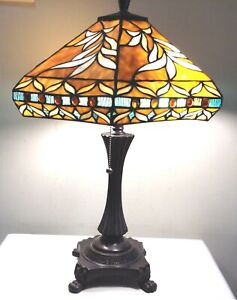 """Tiffany Style Arts & Crafts Stained Glass 23"""" Table Desk Lamps"""