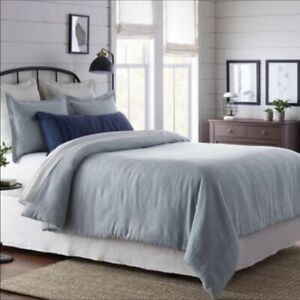 Blue Twill Comforter with 2 Shams Hearth Hand Magnolia Farmhouse Bed Queen Full