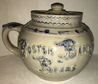Beautiful 19th Century BOSTON BAKED BEANS Stoneware Pot Whites Pottery Utica NY
