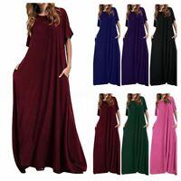Damen Mode Kurzarm Sommer Kleid Shirtkleid Plain Rundhals Maxikleid Strandkleid