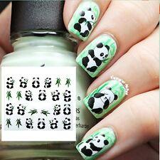 Nail Art Water Decals Stickers Transfers Lucky Panda Bear Gel Polish (045)