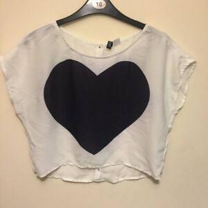 H&M White Crop With Heart UK 6 Buttoned Back