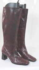 Womens Knee High Boots Leather Faux Snakeskin Red Black Size 6 M