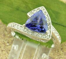 14k Solid White Gold Natural Diamond & AAA Trillion Cut Tanzanite Ring 2.33 ct