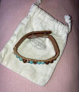 Fossil Damen Armband Kunstleder Perlen Braun-Türkis