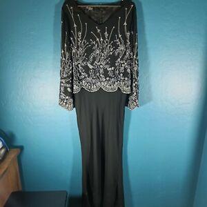 J Kara New York Beaded Evening Gown Dress Maxi Length Navy Blue Plus Size 16