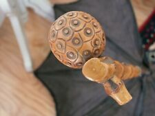 1860-70 Parasol Umbrella Bamboo Frame Carved Handle Repair Project as is