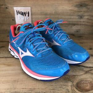 Mizuno Wave Rider 20 Mens Blue/Pink Running Gym Trainers Shoes Size UK7.5 EU41