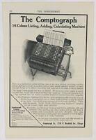 1912 Comptograph 16 Column Adding Calculating Machine Tech Advertising Print Ad