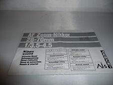 Nikon AF Zoom Nikkor 28-70mm F3.5-4.5 Instruction Owners Manual EX+ 6 Languages