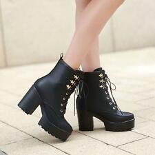Punk Womens Chunky High Heel Platform Lace Up Gothic Riding Ankle Boots Shoes US