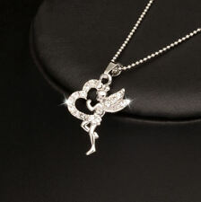 ** BEAUTIFUL * TINKERBELL & HEART * DIAMANTE Pendant & Chain Necklace ** Gift