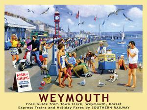 Weymouth Railway Poster -  Metal Wall Sign (3 sizes - Small / Large and Jumbo)