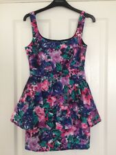 OASIS Blue Purple Green Peplum Floral Party Dress Size 8