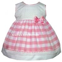 NEW GIRLS SPANISH ALBER PINK GINGHAM DRESS WITH BOW & LACE DETAIL 1-18 MONTH