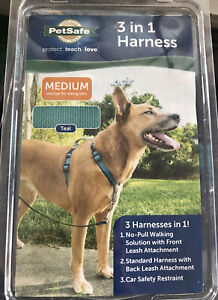 PetSafe 3IN1 Pet Harness Medium Teal No Pull 3 in 1