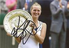 TENNIS: PETRA KVITOVA SIGNED 6x4 WIMBLEDON TROPHY PHOTO+COA *WIMBLEDON*